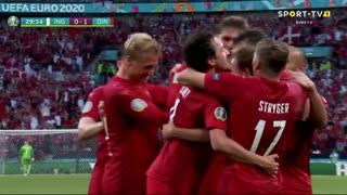 GOLO! Dinamarca, M. Damsgaard aos 30', Inglaterra 0-1 Dinamarca