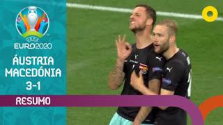 UEFA Euro (Fase de Grupos - Jornada 1): Resumo Áustria 3-1 Macedónia do Norte