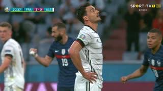 GOLO! França, M. Hummels (p.b.) aos 20', França 1-0 Alemanha