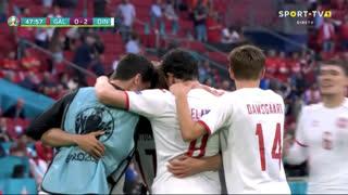 GOLO! Dinamarca, K. Dolberg aos 48', Gales 0-2 Dinamarca