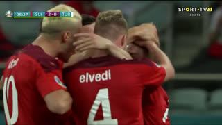 GOLO! Suíça, X. Shaqiri aos 26', Suíça 2-0 Turquia