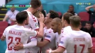 GOLO! Dinamarca, K. Dolberg aos 27', Gales 0-1 Dinamarca