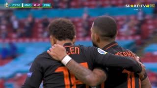 GOLO! Países Baixos, M. Depay aos 24', Macedónia do Norte 0-1 Países Baixos