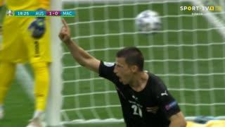 GOLO! Áustria, S. Lainer aos 18', Áustria 1-0 Macedónia do Norte