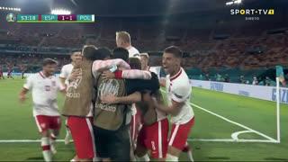 GOLO! Polónia, Lewandowski aos 54', Espanha 1-1 Polónia