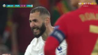 GOLO! França, Benzema aos 47', Portugal 1-2 França