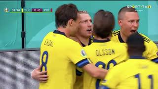 GOLO! Suécia, E. Forsberg aos 2', Suécia 1-0 Polónia