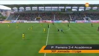 I Liga (30ªJ): Resumo FC P.Ferreira 2-4 A. Académica