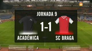 I Liga (9ªJ): Resumo A. Académica 1-1 SC Braga