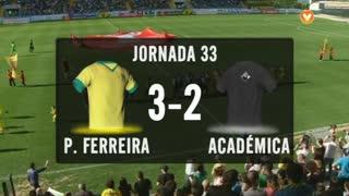 I Liga (33ªJ): Resumo FC P.Ferreira 3-2 A. Académica