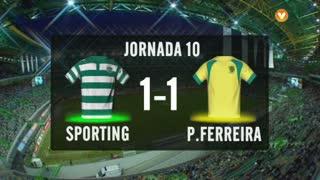 I Liga (10ªJ): Resumo Sporting CP 1-1 FC P.Ferreira
