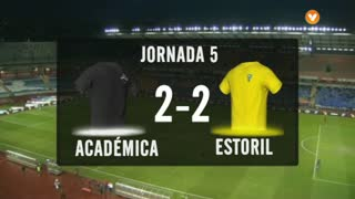 Liga (5ª J): Resumo Académica 2-2 Estoril 2. Resumo do Vídeo: