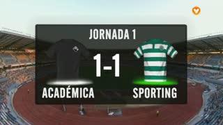 I Liga (1ªJ): Resumo A. Académica 1-1 Sporting CP