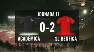 I Liga (11ªJ): Resumo A. Académica 0-2 SL Benfica