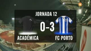 I Liga (12ªJ): Resumo A. Académica 0-3 FC Porto