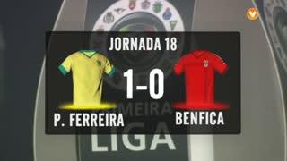 I Liga (18ªJ): Resumo FC P.Ferreira 1-0 SL Benfica