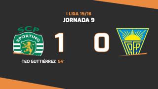 I Liga (9ªJ): Resumo Sporting CP 1-0 Estoril Praia