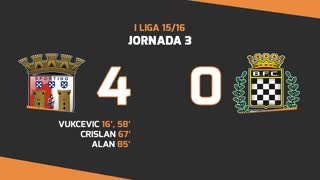 I Liga (3ªJ): Resumo SC Braga 4-0 Boavista FC