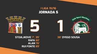 I Liga (5ªJ): Resumo SC Braga - Marítimo M.