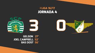 Liga NOS (4ªJ): Resumo Sporting CP 3-0 Moreirense FC