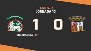 I Liga (10ªJ): Resumo Marítimo M. 1-0 SC Braga
