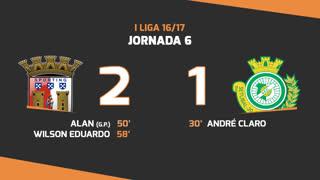 I Liga (6ªJ): Resumo SC Braga 2-1 Vitória FC