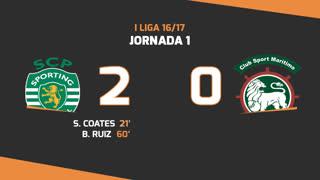 I Liga (1ªJ): Resumo Sporting CP 2-0 Marítimo M.