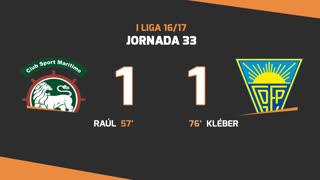 Liga NOS (33ªJ): Resumo Marítimo M. 1-1 Estoril Praia