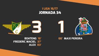 Liga NOS (34ªJ): Resumo Moreirense FC 3-1 FC Porto
