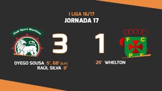 Liga NOS (17ªJ): Resumo Marítimo M. 3-1 FC P.Ferreira