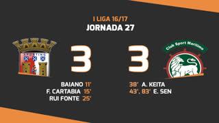 Liga NOS (27ªJ): Resumo SC Braga 3-3 Marítimo M.