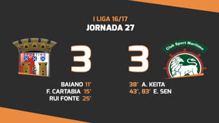 I Liga (27ªJ): Resumo SC Braga 3-3 Marítimo M.