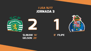 Liga NOS (3ªJ): Resumo Sporting CP 2-1 FC Porto