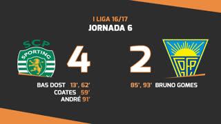 Liga NOS (6ªJ): Resumo Sporting CP 4-2 Estoril Praia