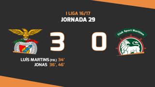 I Liga (29ªJ): Resumo SL Benfica 3-0 Marítimo M.