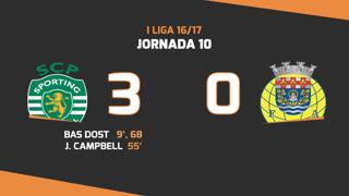 Liga NOS (10ªJ): Resumo Sporting CP 3-0 FC Arouca