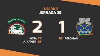 Liga NOS (28ªJ): Resumo Marítimo M. 2-1 GD Chaves
