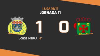 I Liga (11ªJ): Resumo FC Arouca 1-0 FC P.Ferreira