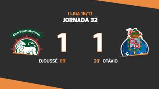 Liga NOS (32ªJ): Resumo Marítimo M. 1-1 FC Porto