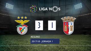 Liga NOS (1ªJ): Resumo SL Benfica 3-1 SC Braga