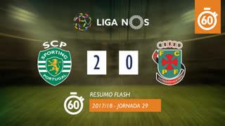Liga NOS (29ªJ): Resumo Flash Sporting CP 2-0 FC P.Ferreira