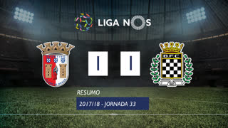 Liga NOS (33ªJ): Resumo SC Braga 1-1 Boavista FC