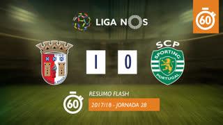 Liga NOS (28ªJ): Resumo Flash SC Braga 1-0 Sporting CP
