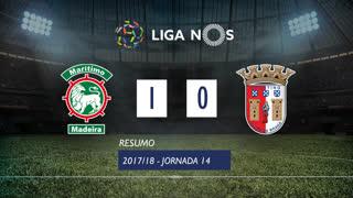 Liga NOS (14ªJ): Resumo Marítimo M. 1-0 SC Braga