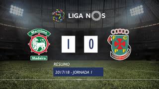 Liga NOS (1ªJ): Resumo Marítimo M. 1-0 FC P.Ferreira