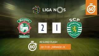 Liga NOS (34ªJ): Resumo Flash Marítimo M. 2-1 Sporting CP