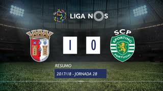 Liga NOS (28ªJ): Resumo SC Braga 1-0 Sporting CP