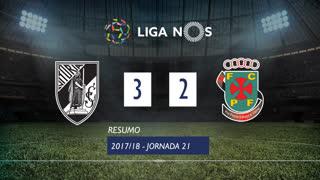 Liga NOS (21ªJ): Resumo Vitória SC 3-2 FC P.Ferreira