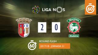 Liga NOS (31ªJ): Resumo Flash SC Braga 2-0 Marítimo M.