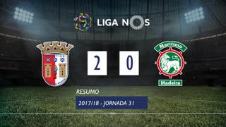 Liga NOS (31ªJ): Resumo SC Braga 2-0 Marítimo M.